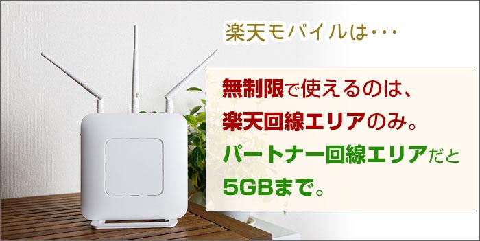 無制限で使えるのは、楽天回線エリアのみ。パートナー回線エリアだと5GBまで