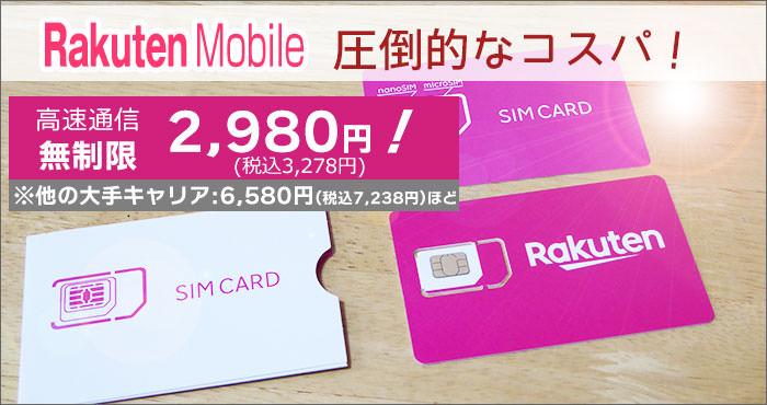 大手3社より、圧倒的なコスパ!データ使い放題で2,980円。