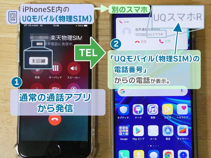 UQモバイルの番号で発信→標準の電話アプリで発信
