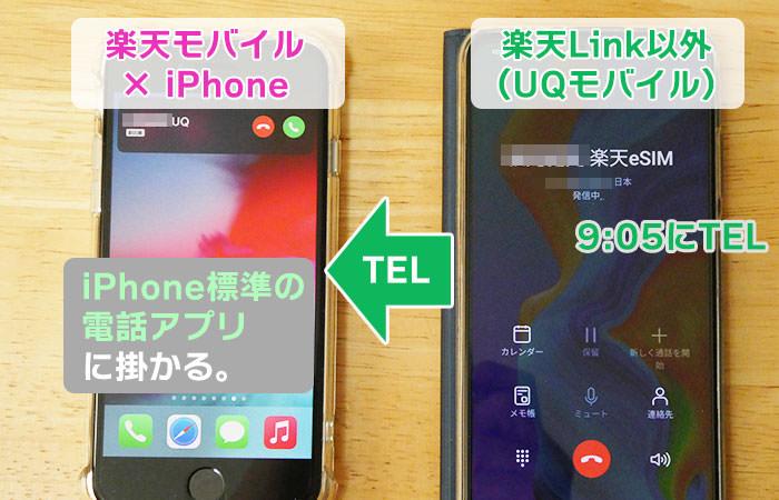 楽天Link以外から、楽天モバイル回線のiPhoneに、電話01