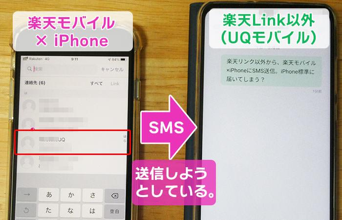 楽天Link以外に、楽天モバイル回線のiPhoneからSMS01