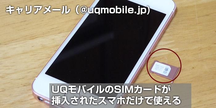 UQモバイルのSIMカードが挿入されたスマホ