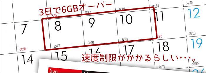 3日間の通信が6GB以上利用すると、制限にかかるかも。