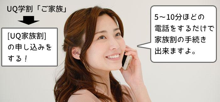 UQ学割「ご家族」は、電話で「家族割」の申し込みをすることで適用