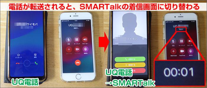 UQモバイルから、SMARTalkに転送したときの写真