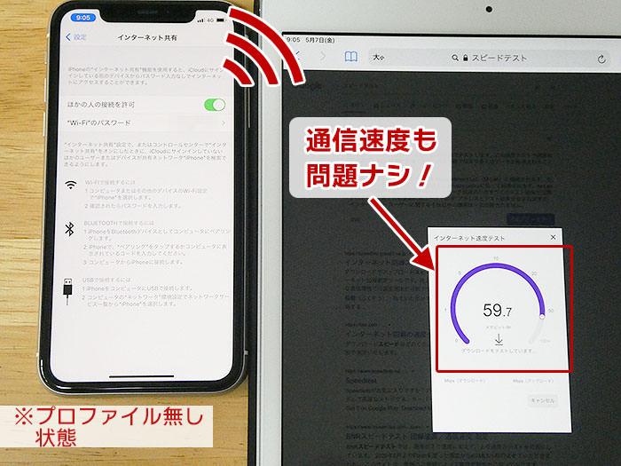 プロファイル無し・UQモバイル回線でテザリング:通信速度に問題無し。
