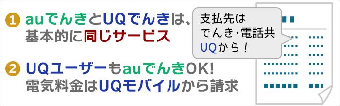 auでんきとUQでんき:サービスは同じ。UQユーザも「auでんき」申し込み可能。