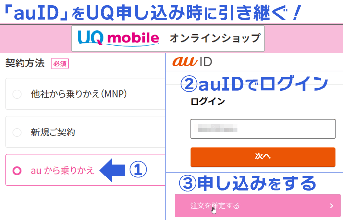 UQモバイル契約時に、auIDを引き継ぐ手順11