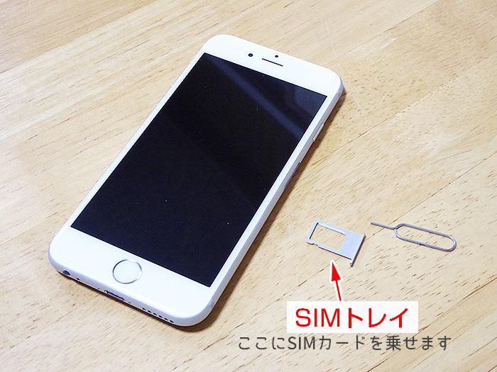 iPhoneのSIMトレイ。ここにSIMカードを乗せる