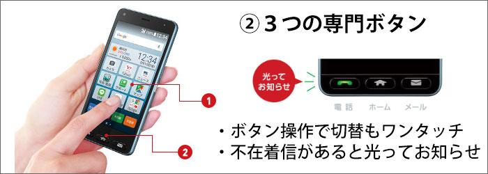 「かんたんスマホ」ボタン操作で、電話・メールへの切替が出来る!