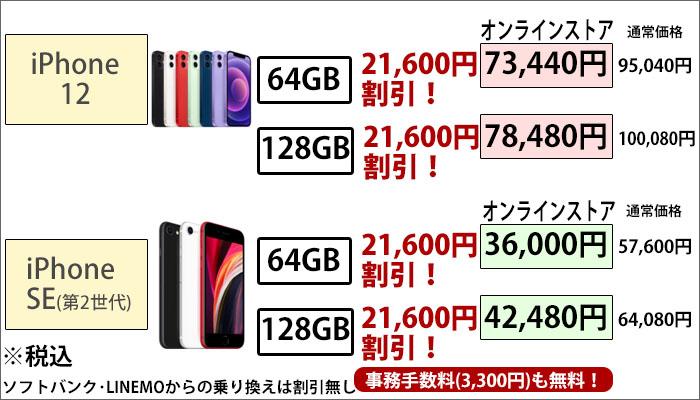 事務手数料無料+iPhoneSEが最大18,000円割引!